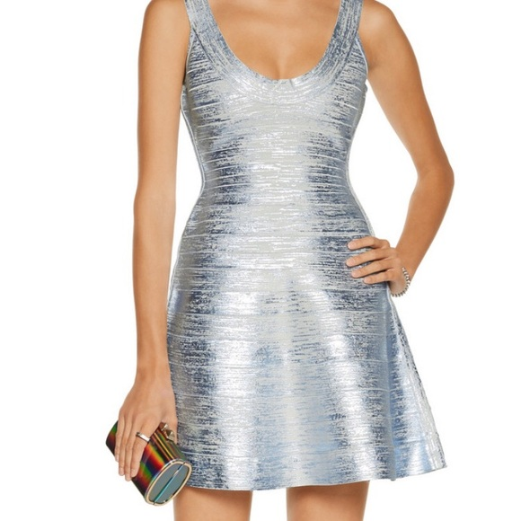 6d96548b4bc6 Herve Leger Dresses & Skirts - HERVE LEGER EVA Metallic Coated Bandage Dress  smal